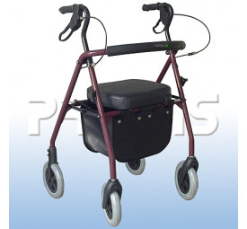 Andador com 4 rodas, assento e cesta - Praxis