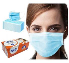 Máscara Descartável Tripla com Elástico C/50 AZUL- Medix