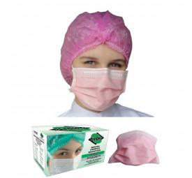 Máscara Descartável Tripla com Elástico Rosa C/50- ProtDesc