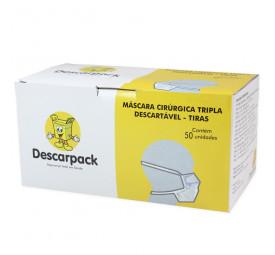 Máscara descartável com tiras proteção tripla Descarpack caixa com 50 unidade