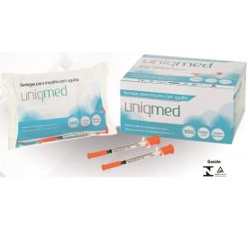 Seringa Descartável 0,5 ml agulha 8x0,30 UNIQMED- pacote com 10 unidades
